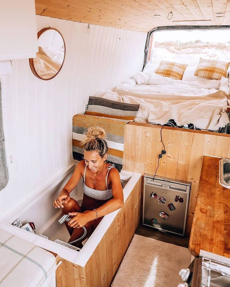 Photo of Image may contain: one or more people, bedroom and indoor – camper, camping #Bed…