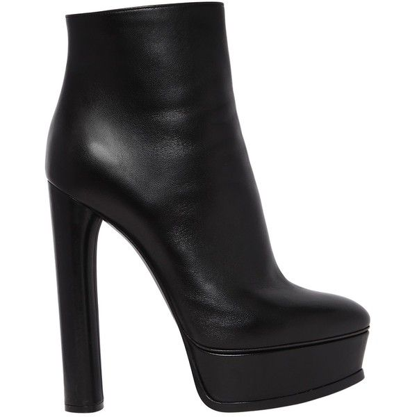 Casadei Women 140mm Leather Ankle Boots (18.855 ARS) ❤ liked on Polyvore featuring shoes, boots, ankle booties, black, black booties, black leather bootie, black leather booties, black high heel booties and black bootie