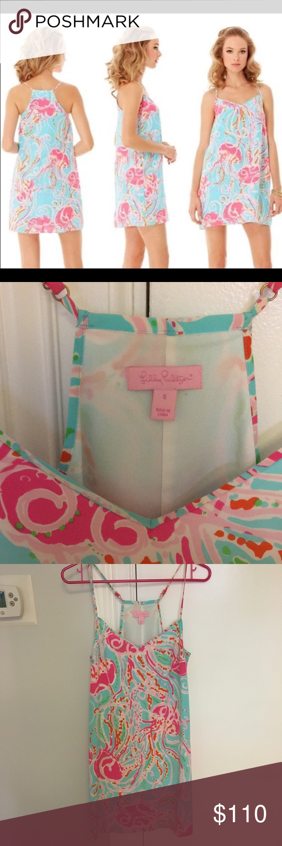 b61d170f29f7 Lilly Pulitzer Jellies Be Jammin Dusk Slip Dress Adorable Lilly Pulitzer  strappy, silk dress in Jellies Be Jammin print. Excellent condition with no  stains ...