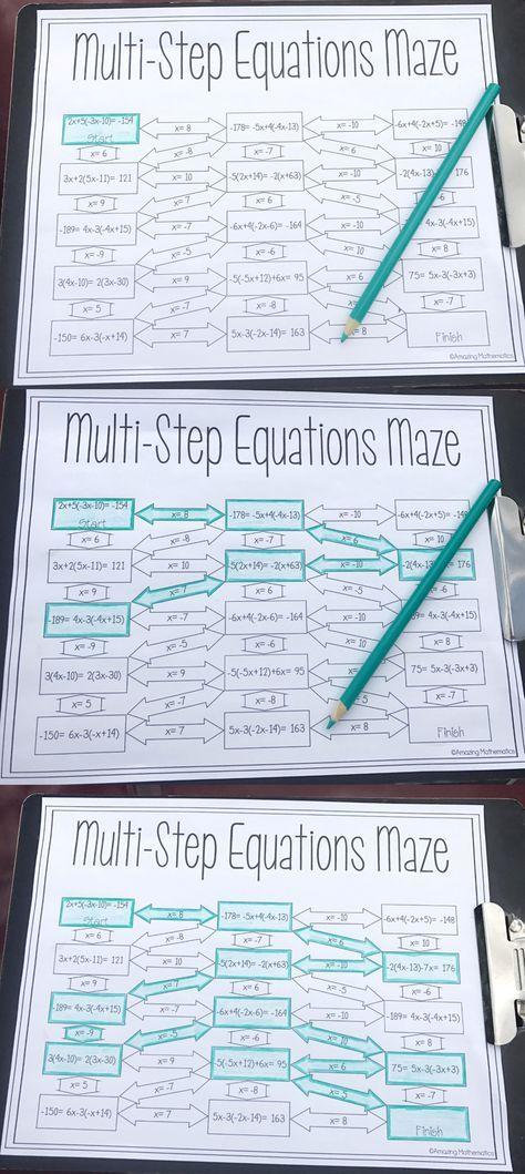 Solving MultiStep Equations Maze Worksheet Middle