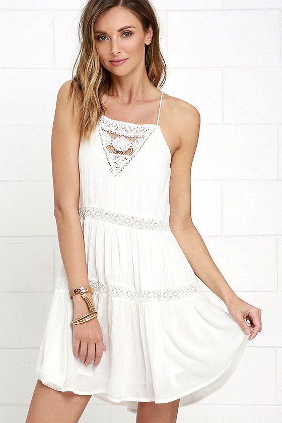 Amuse Society Linnea Ivory Lace Dress at Lulus.com!
