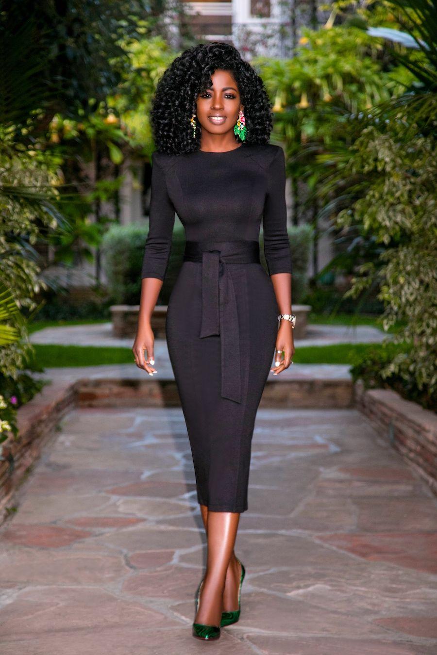 Shoulder Pad Midi Dress Fashion Black Women Fashion Fashion Dresses [ 1350 x 900 Pixel ]
