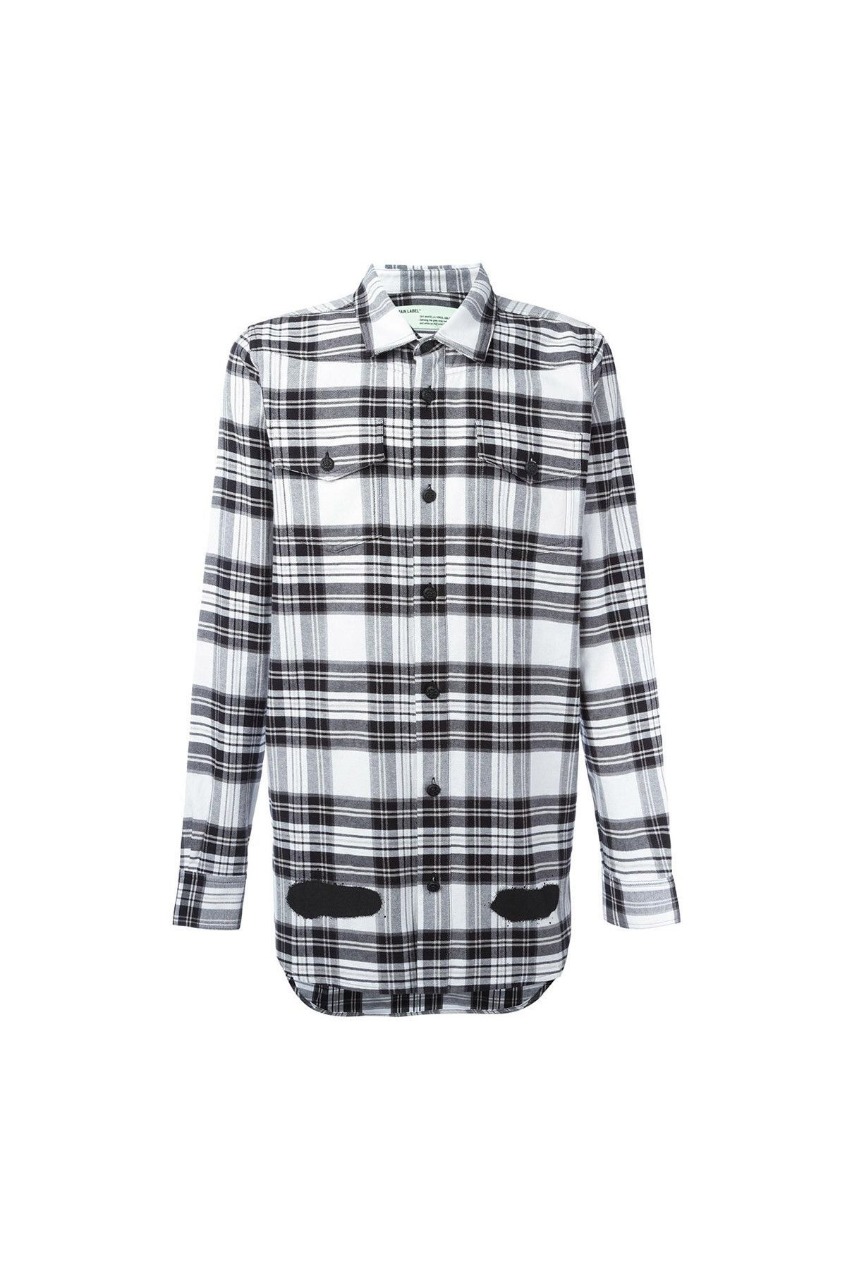 37ab3c4deb  Off-White   01 clothing   02 top   02 shirt  Diagonal Spray Check Shirt
