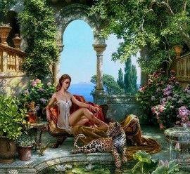 Картины по номерам 40х50 - Девушка с леопардом - Картины ...