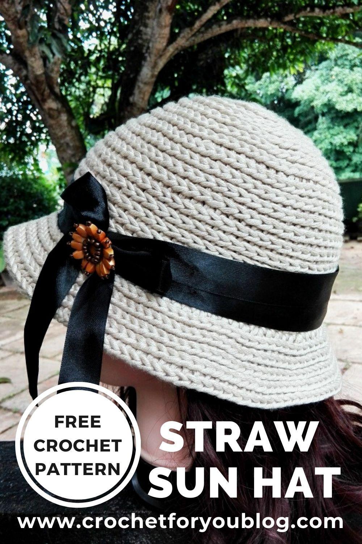 Crochet Straw Sun Hat Free Pattern #freecrochetpattern #crochetforyoublog #crochetsunhat #crochethat