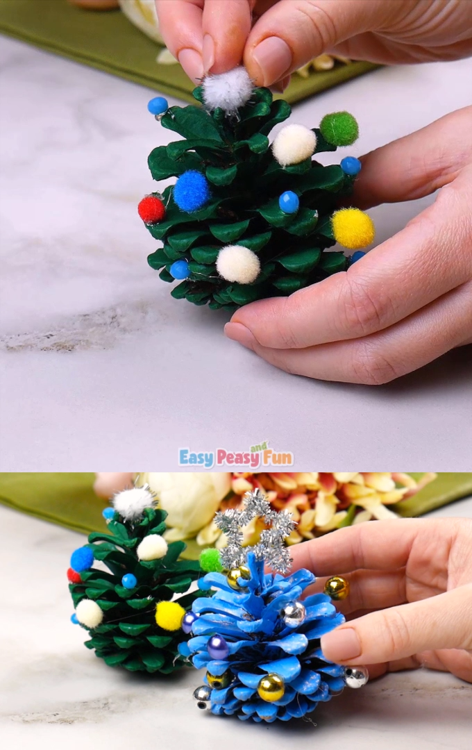 If you managed to gather pinenecones (or still can) why not make pineceone Christmas tree decorations? Simple to make and they