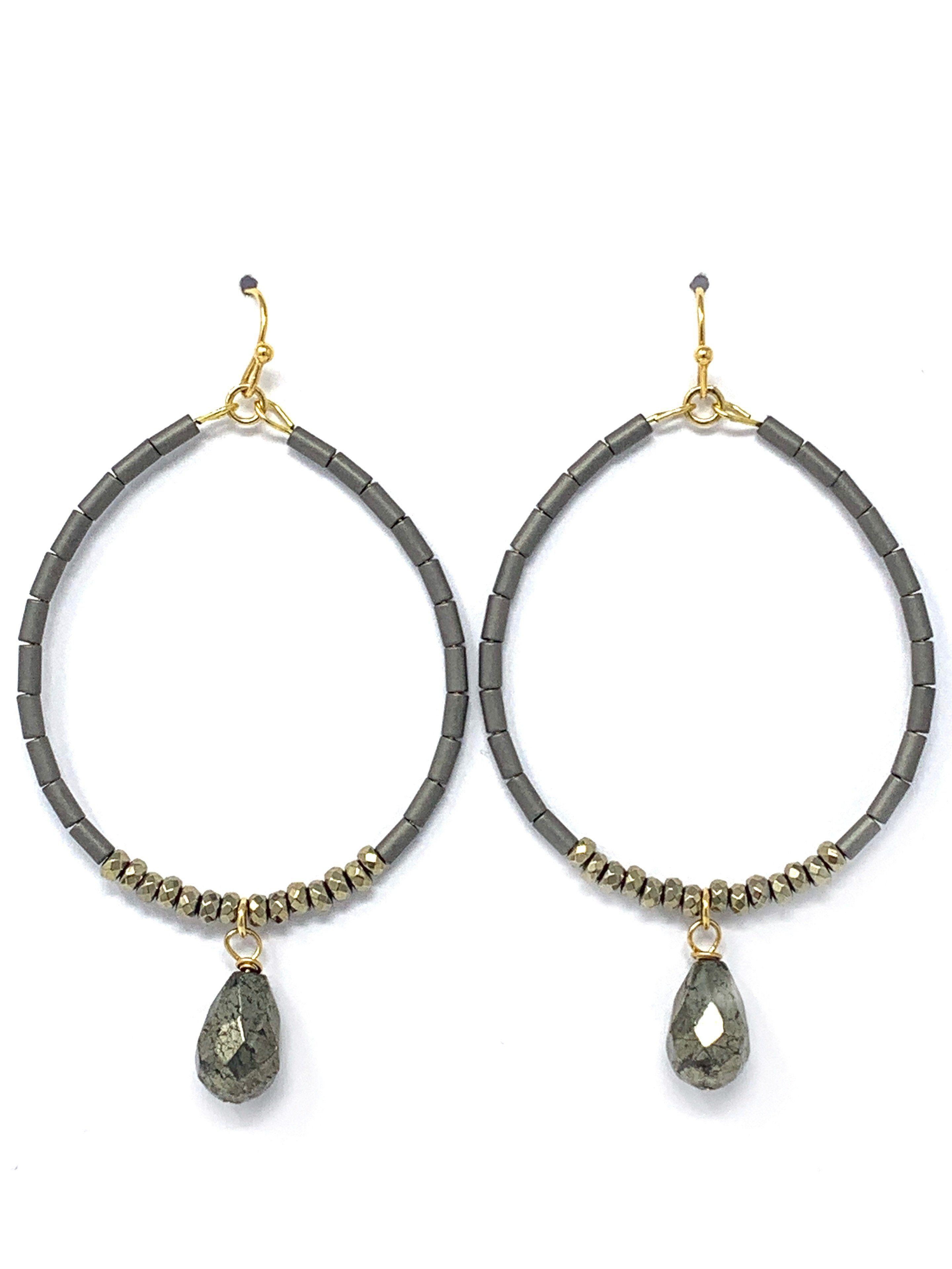 Rose Gold Haematite Star Drop Hoop Earrings