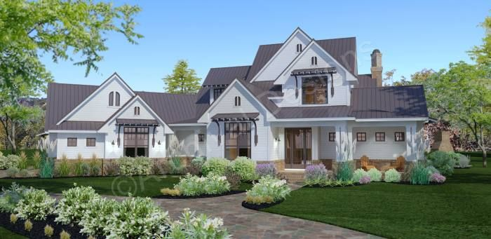 Crystal Falls House Plans Crystal Falls Front Rendering Archival Designs Farmhouse Style House Modern Farmhouse Exterior Farmhouse Style House Plans