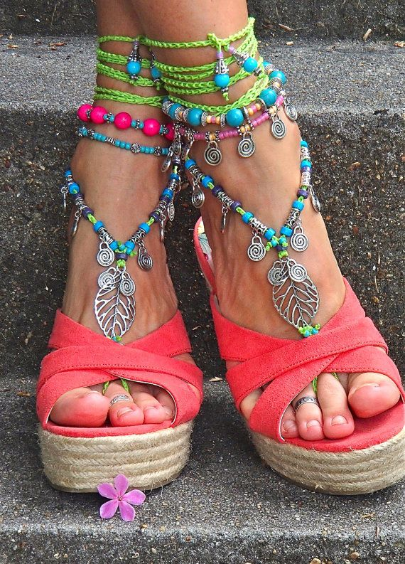 Reserved NEON green BAREFOOT sandals LEAF Toe anklets Woodland
