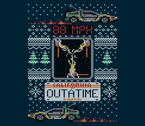 Hill Valley is a winter wonderland on our Ugly Future Xmas sweater ...
