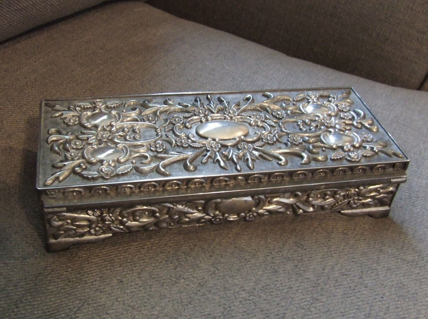Silver Plated Large Jewelry Box Jewelry Casket Vintage Jewelry Box