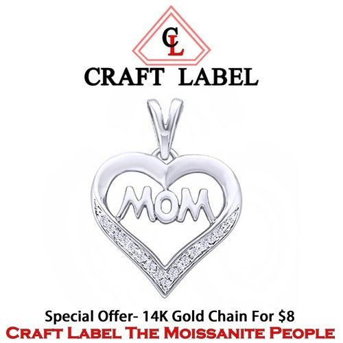 """14K Gold Round Brilliant Cut """"Mom"""" Heart Pendant Without Chain """"Mother\'s Day Gift"""". Starting at $1"""