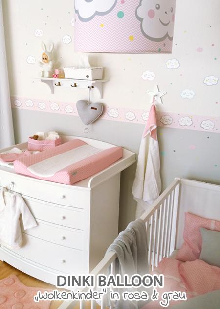 Dinki Balloon Babyzimmer \'Wolkenkinder\' rosa/grau bei Fantasyroom ...