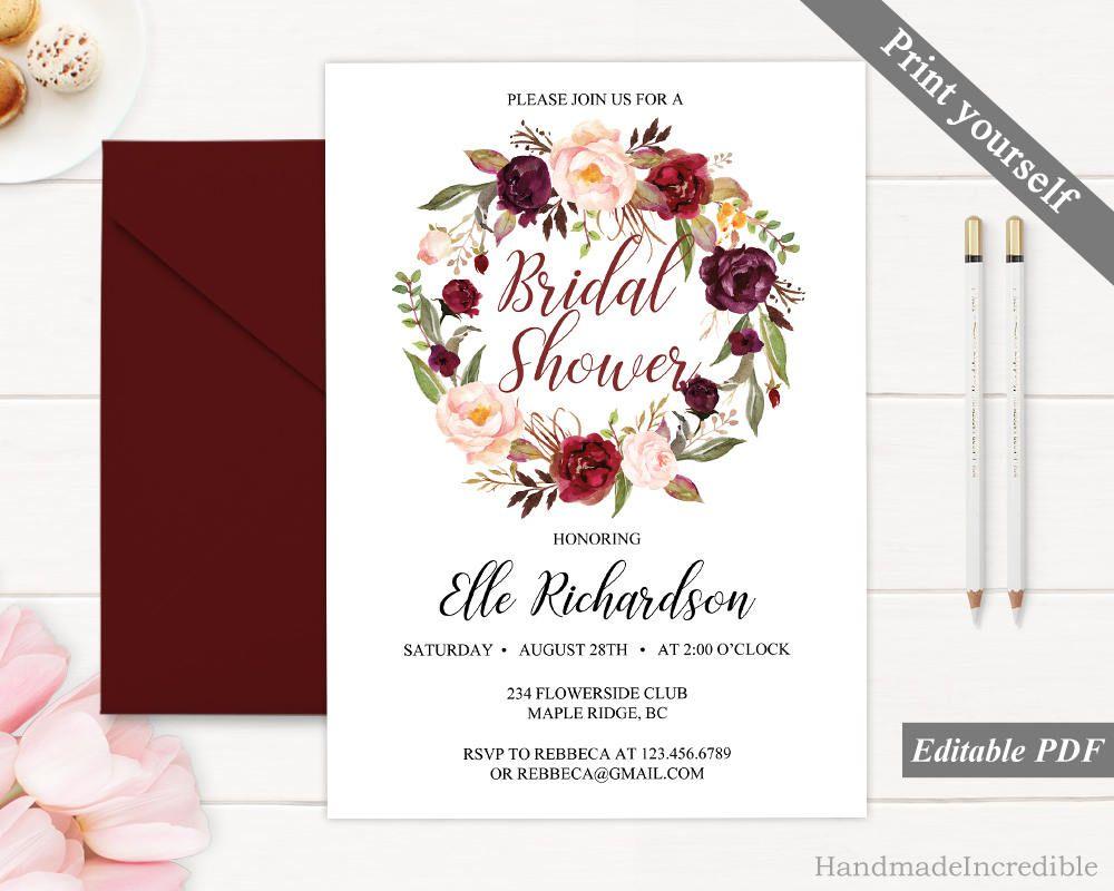 Bordo Bridal Shower Invitation. Printable Wreath Bridal Shower ...