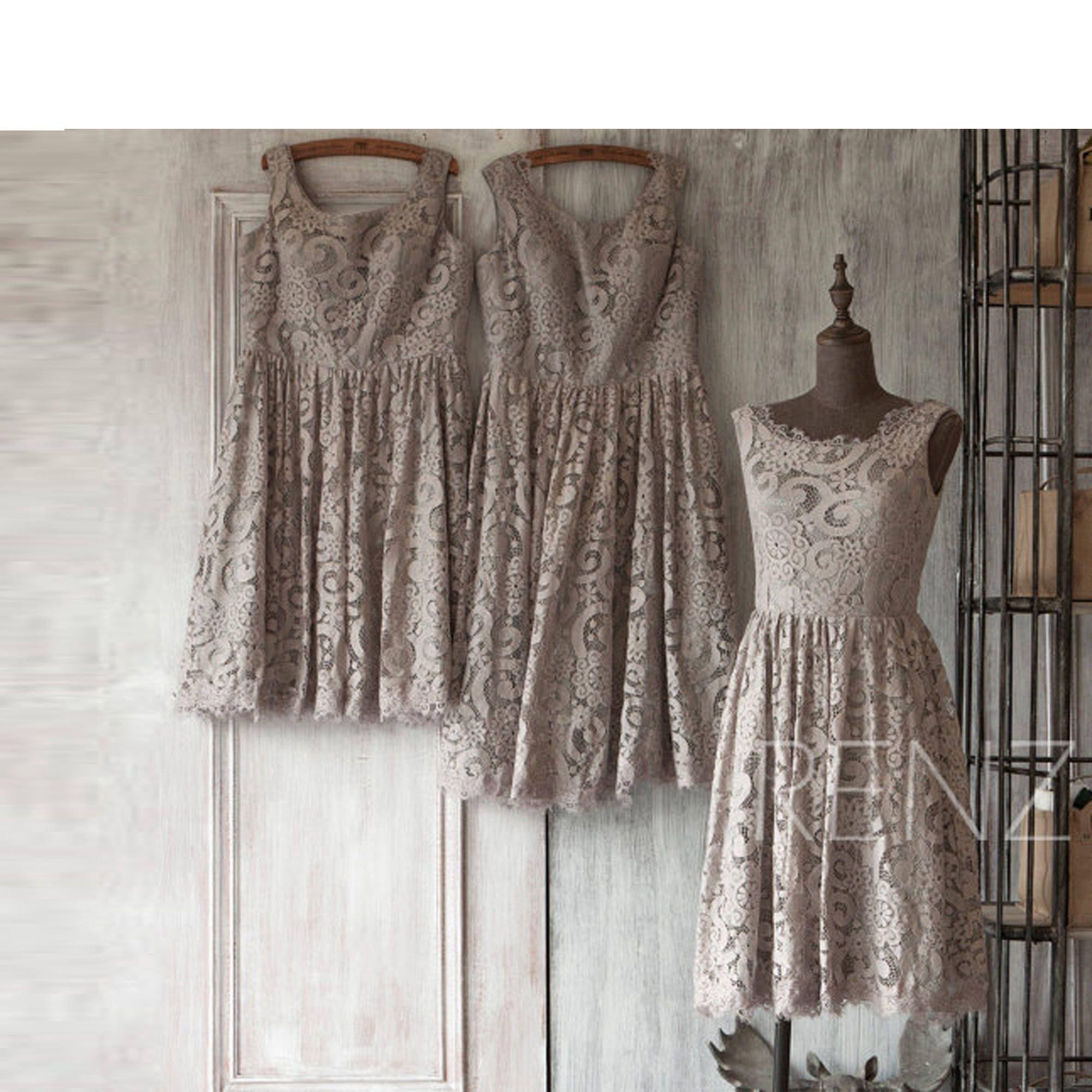 Bridesmaid dress gray lace dresswedding dressshort party dressa