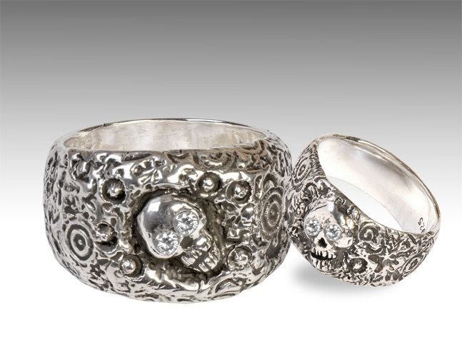 Silver Skull Wedding Ring Set With Diamonds By Johnny10Rings 55000