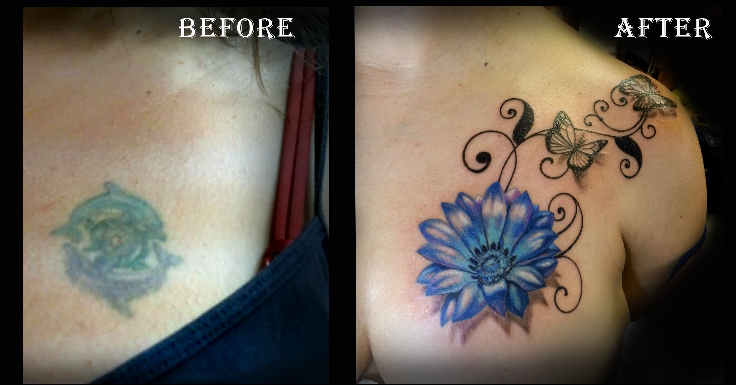 Before and after tattoo cover up tattoo blue flower
