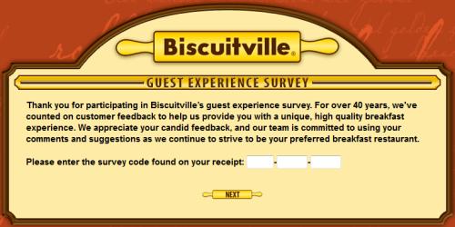 Biscuitville Guest Experience Survey WwwTellbiscuitvilleCom