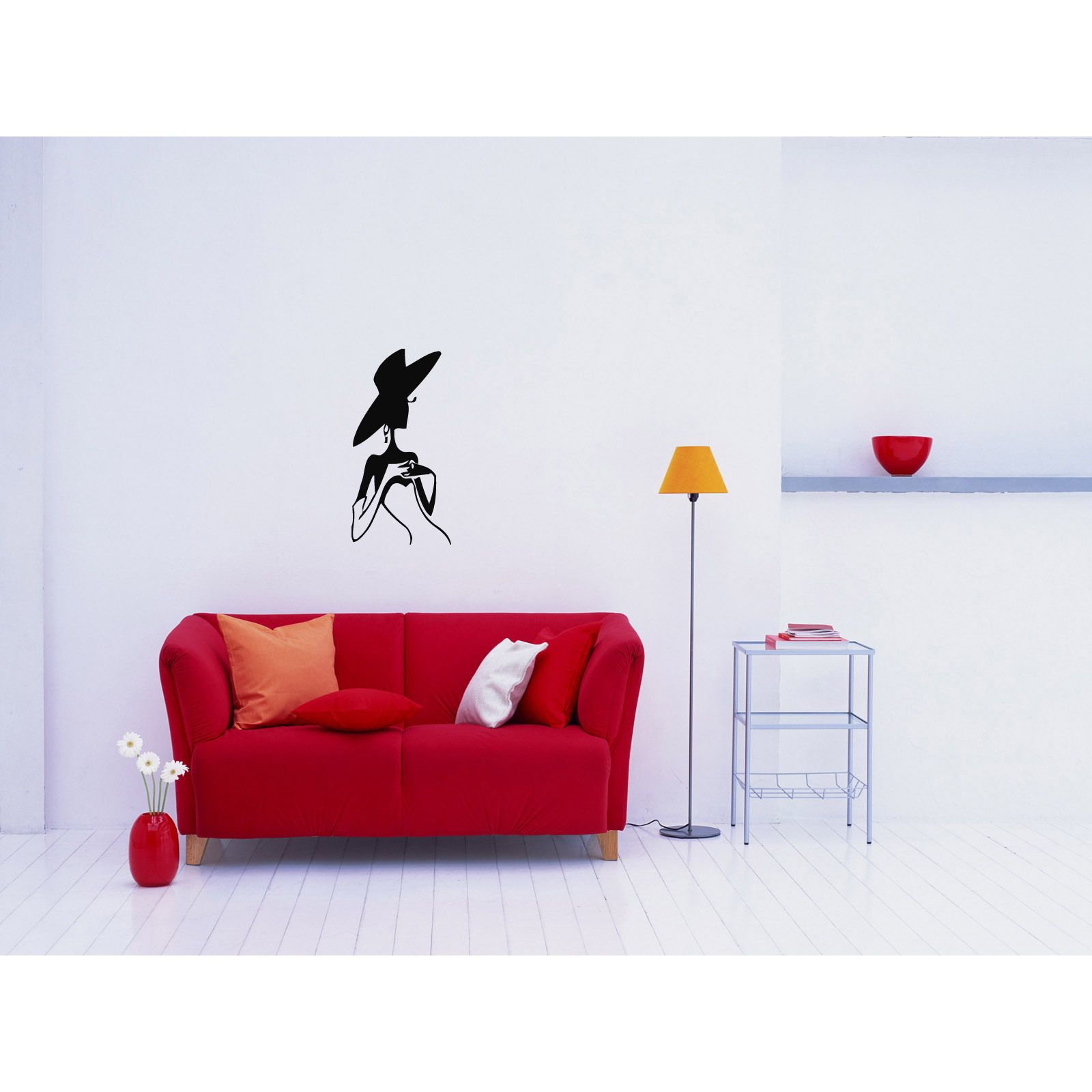 Woman in a hat wall art sticker decal products pinterest