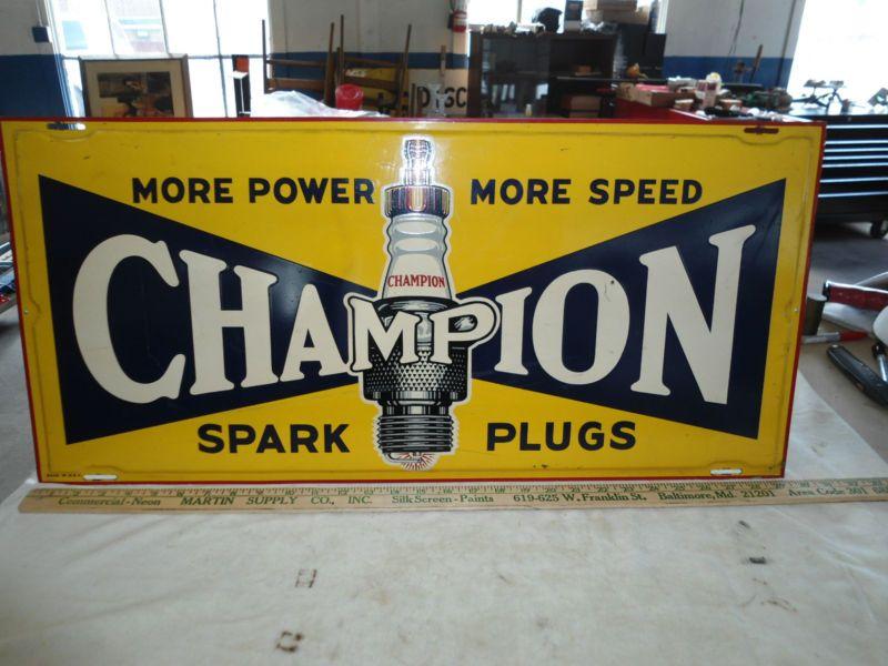 Old Garage Signs : Vintage advertising champion spark plug sign garage man