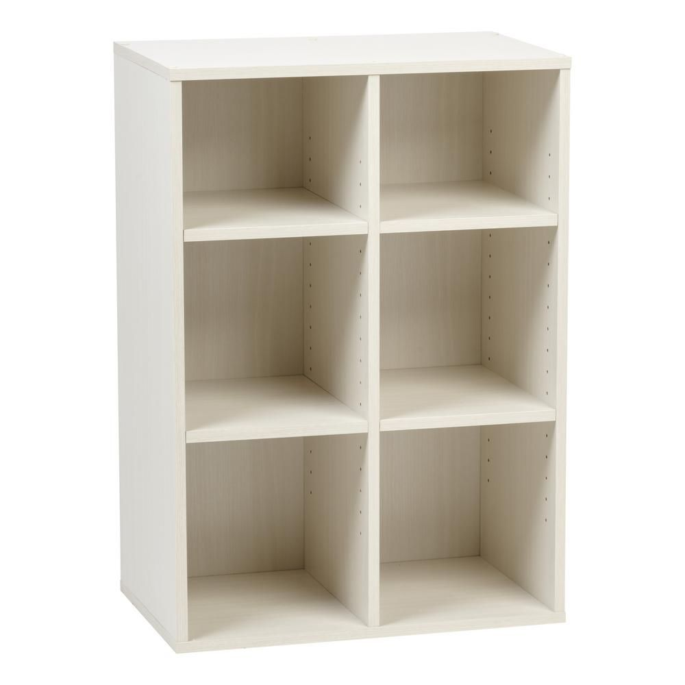 Iris 32 91 In White Faux Wood 6 Shelf Standard Bookcase With