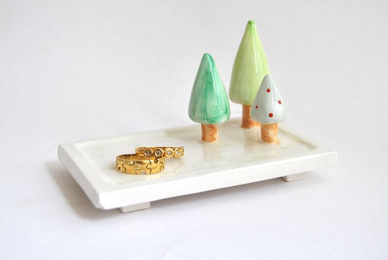 Ceramic Trees Ring Dish Wedding Favor. Trees Jewelry Dish. Wedding Gift. Customizable Bridal Shower Gift. Ceramic Ring Holder. Made to Order