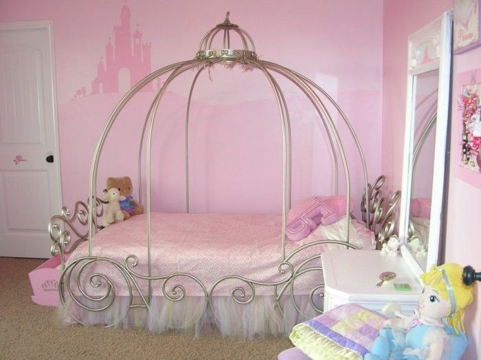 Romantic Pink Wall Paint Bedroom Decorating Ideas For Girl With Exceptional  Iron Canopy Bed On Combined Deluxe Pink Pattern Mattress And Gorgeous White  Wood ...