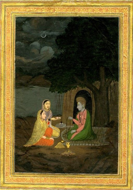 A female ascetic with two disciples. On paper.       Mughal Style.   Date      18thC: