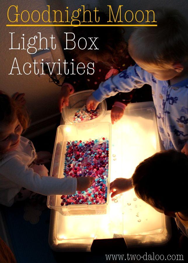 Light box/light table activities for Goodnight Moon theme at Twodaloo