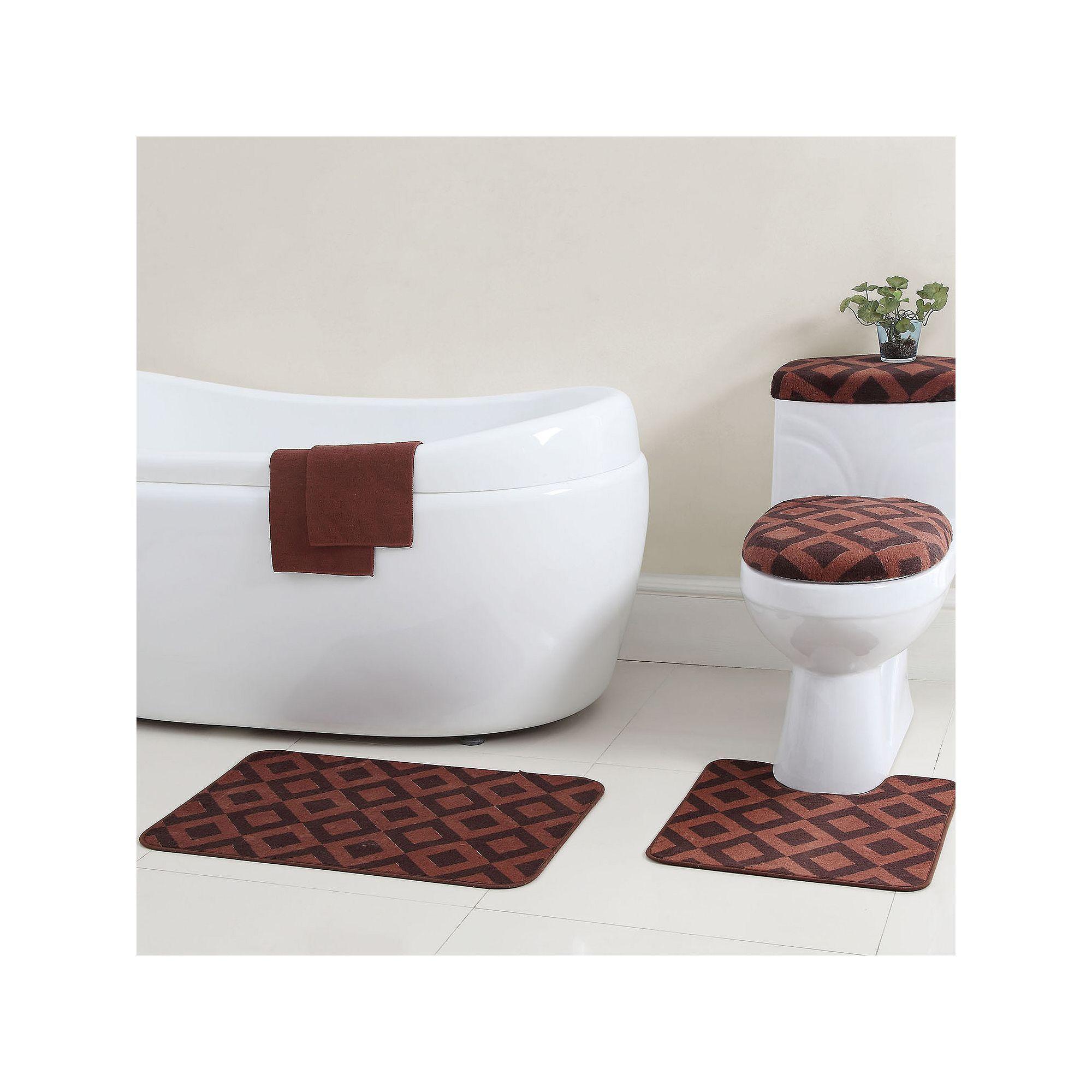 Vcny Vivienne 12 Pc Bath Rug Bathtub Applique Set Brown Bath