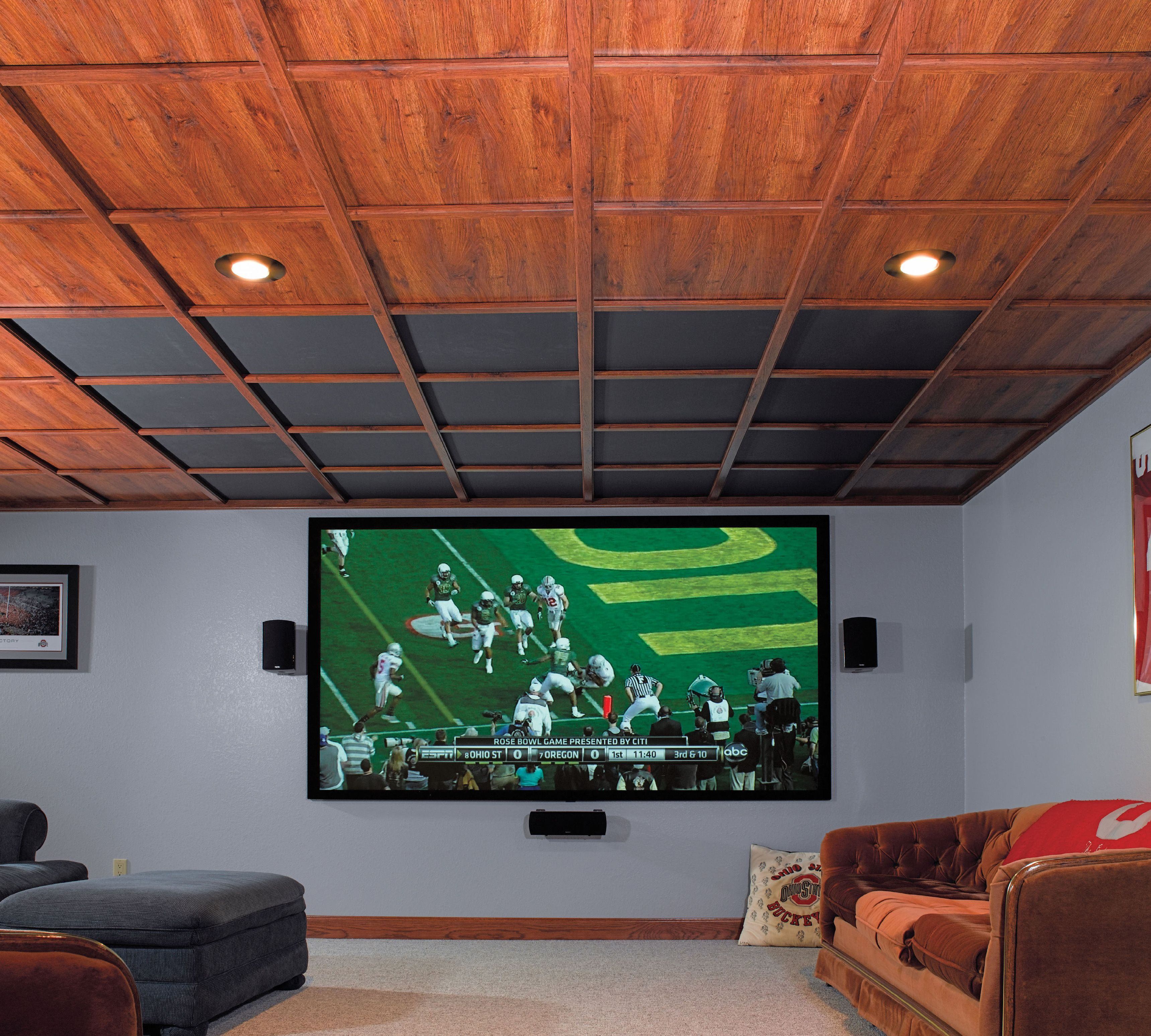 awesome theater room with a woodtrac ceiling i love the design of this ceiling for my basement  [ 3438 x 3096 Pixel ]