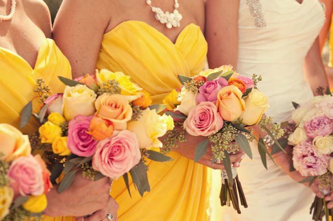 Pink and yellow bridesmaids bouquets #wedding #love #photography ...