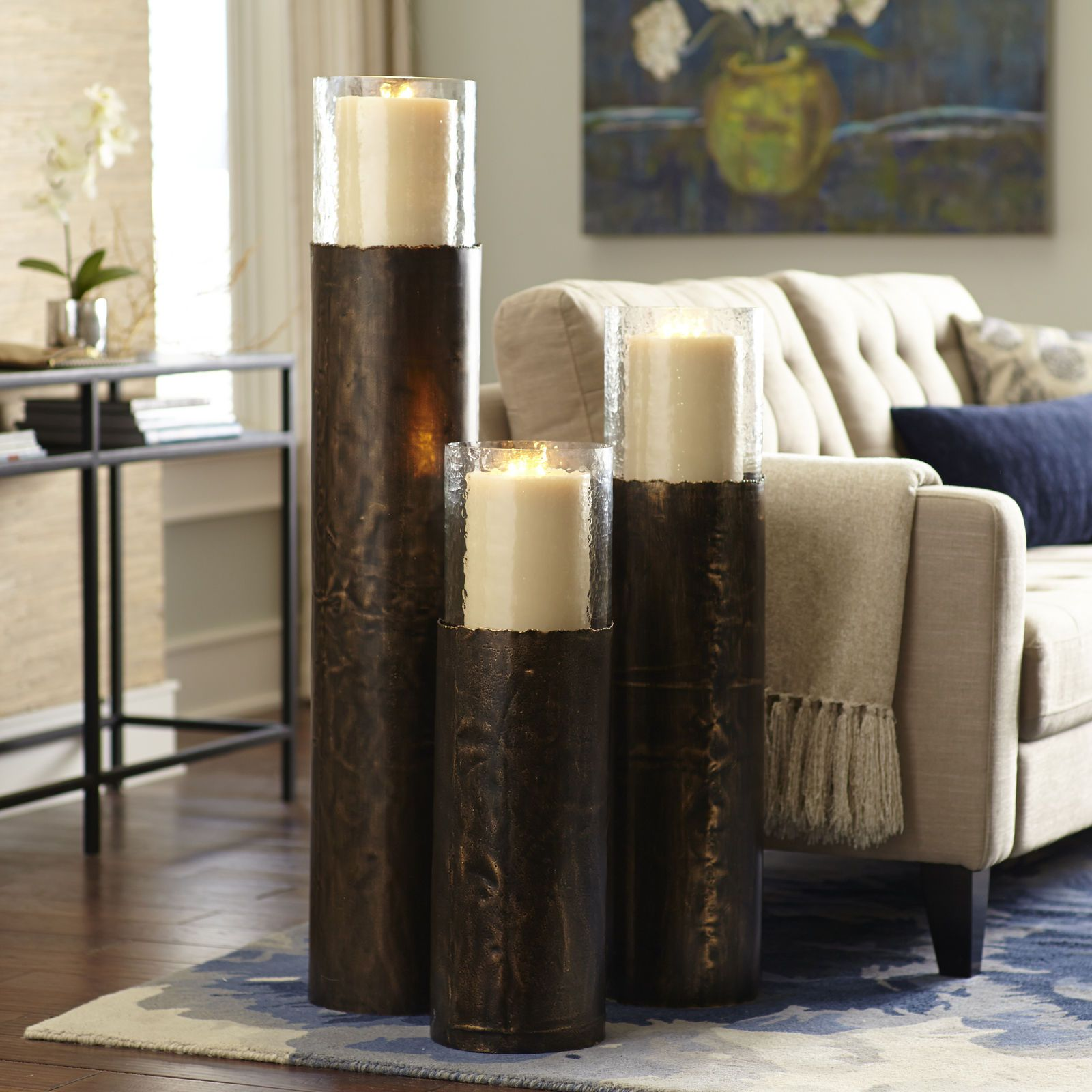 copper leaf floor pillar holders  Candle holders in 2019
