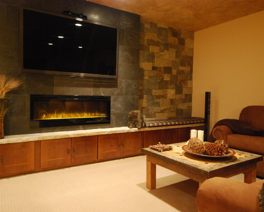 Simplicity A Stone Wall With A Long Electric Modern Fireplace