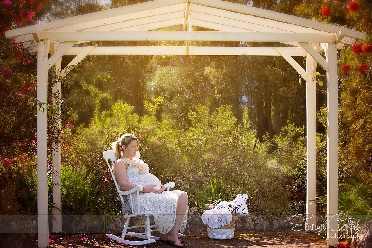 Garden maternity shoot with the rocking chair i painted for baby and