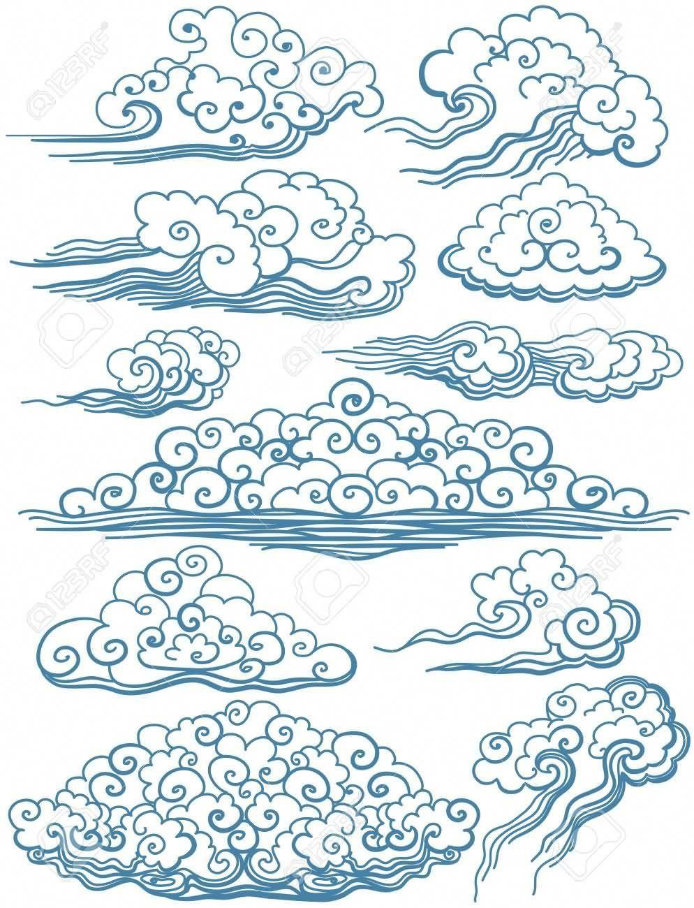 Classic Japanese Clouds Tattoo Designs Japanesetattoos Tatouages De Symbole Japonais Dessin Nuage Dessin De Nuages