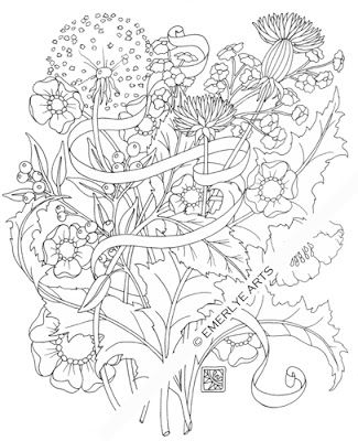 Shy Dandelions An Adult Coloring Page Adult Coloring Flowers
