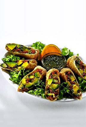 These are my absolute favorite food. Avocado Eggrolls from The Cheesecake Factory. And here's how to copycat them at home: http://www.recipesecrets.net/blog/recipes/copycat-cheesecake-factorys-avocado-eggrolls/