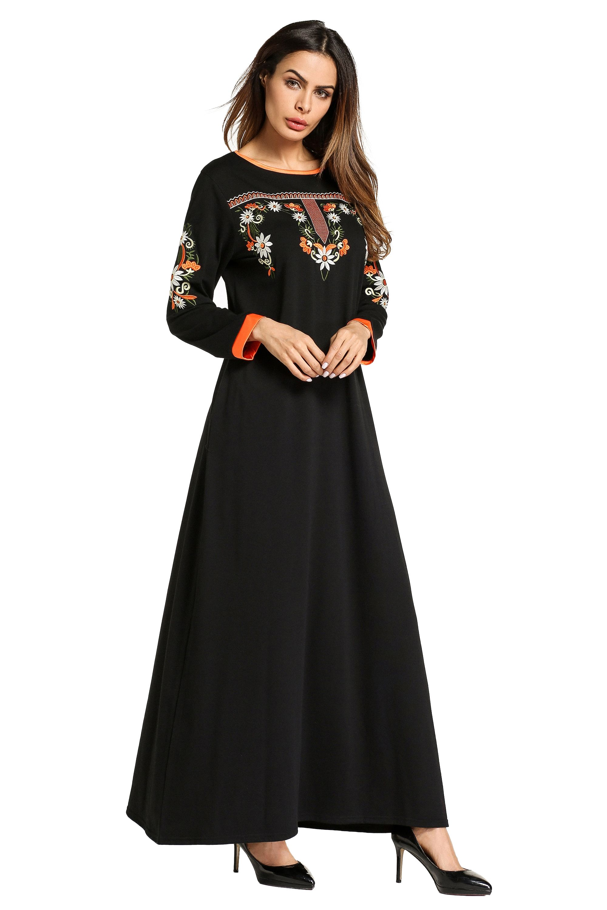 Muslim Long Sleeved Embroidered Dress Welcome To The Website To Contact Retail And Wh Long Sleeve Embroidered Dress Black Long Sleeve Dress Maxi Dress Cocktail [ 3000 x 2000 Pixel ]