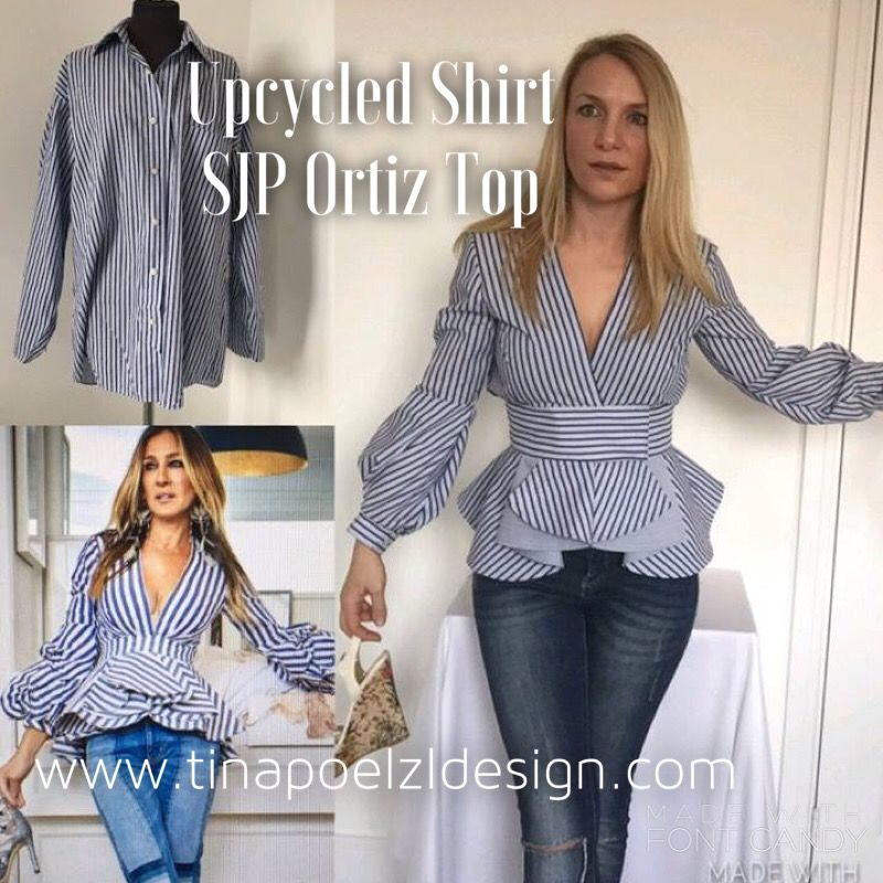 Diy Upcycle Sewing Tutorial On How I Made The Sjp Top Designed By Johanna Ortiz From An Old Man Shirt Refashion T Upcycle Sewing Refashion Clothes Diy Clothes