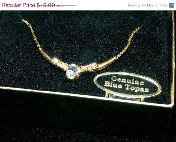 GOBBLEup Genuine Blue Topaz choker by dagutzyone on Etsy, $11.25