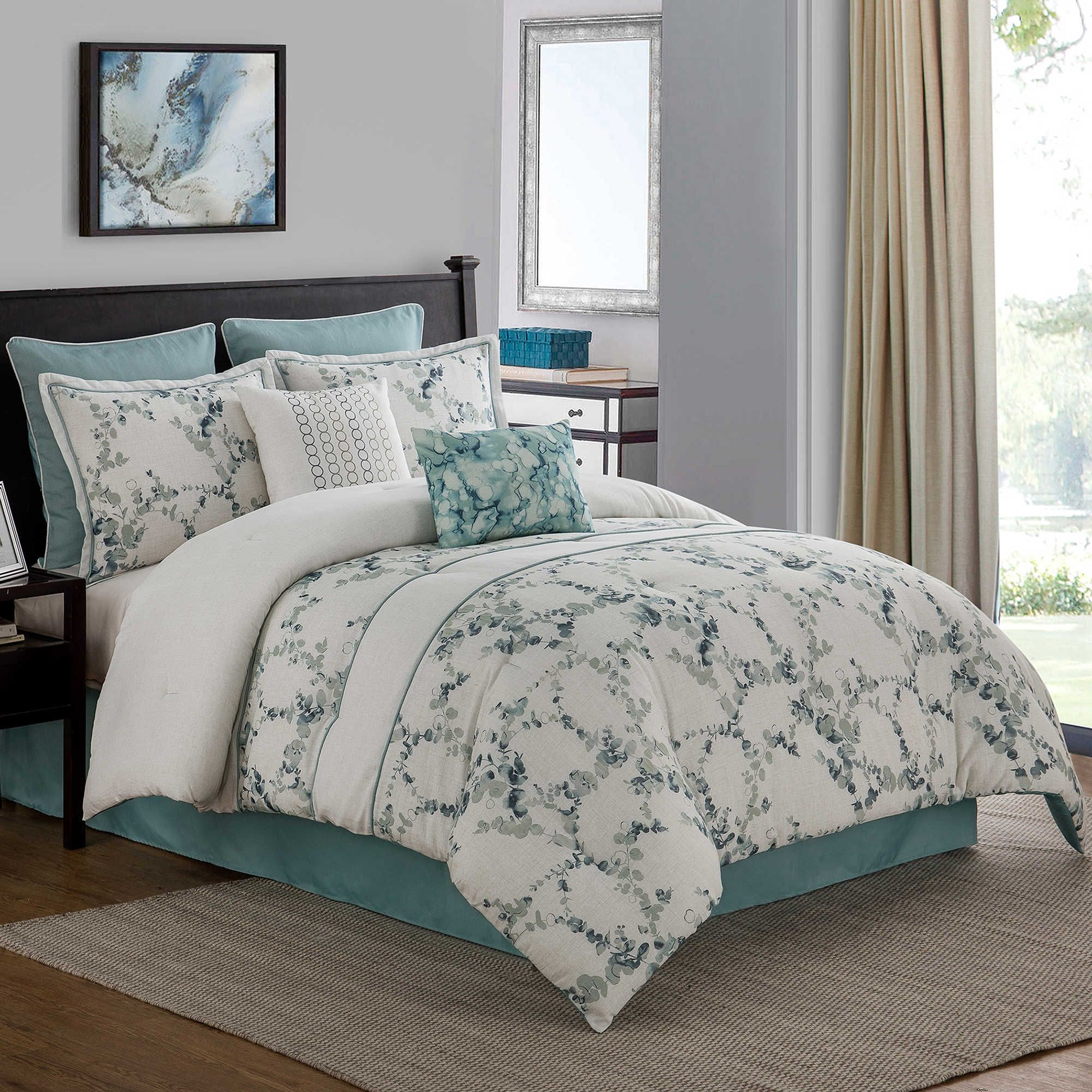 Meadow 8 Piece King Comforter Set In Aqua Comforter Sets Aqua Bedding Bed Comforter Sets King sheet sets on sale