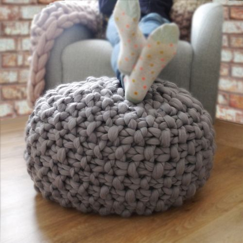Chunky Knitted Footstools That Are Filled With Bean Bag