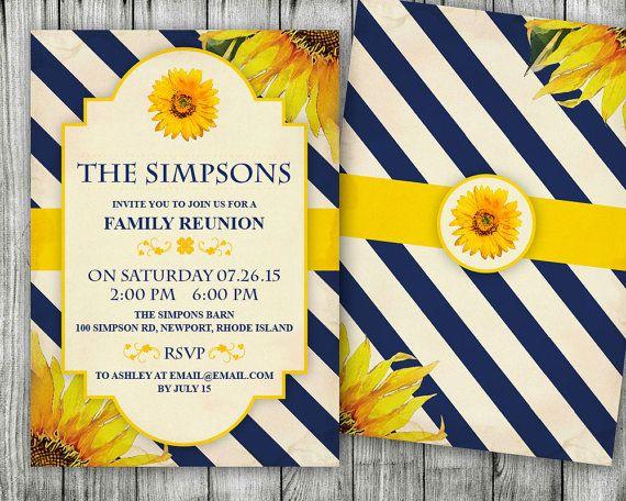 Sunflower Family Reunion Invitations - Housewarming Party - family reunion invitation template