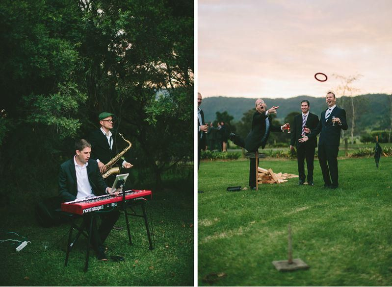 The Baker Boys and quoits lawn games Church wedding