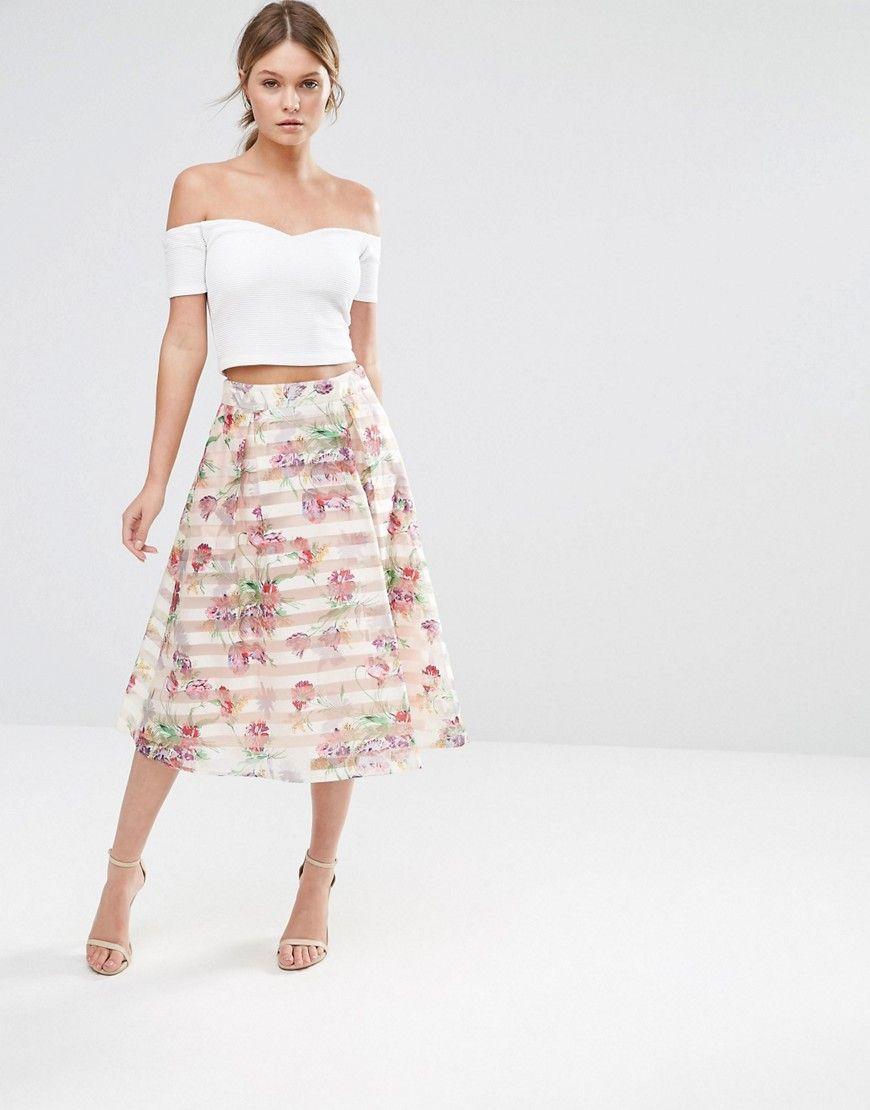 f603a059e Image 1 of Oasis Floral Organza Midi Skirt   Fashionista   Pink midi ...