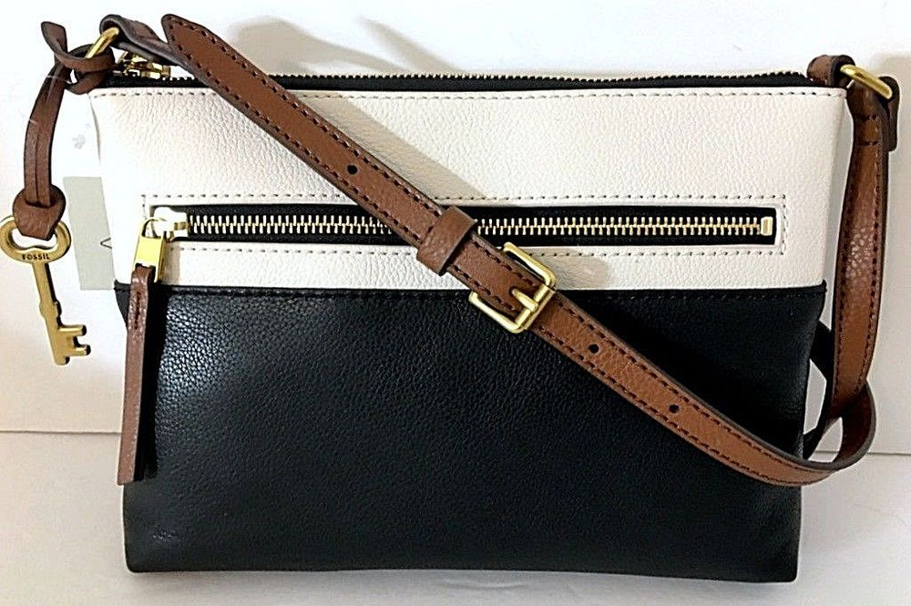 NEW FOSSIL Fiona Small Crossbody Shoulder Bag Black   White Pebbled Leather  NWT  Fossil   685410990b29d