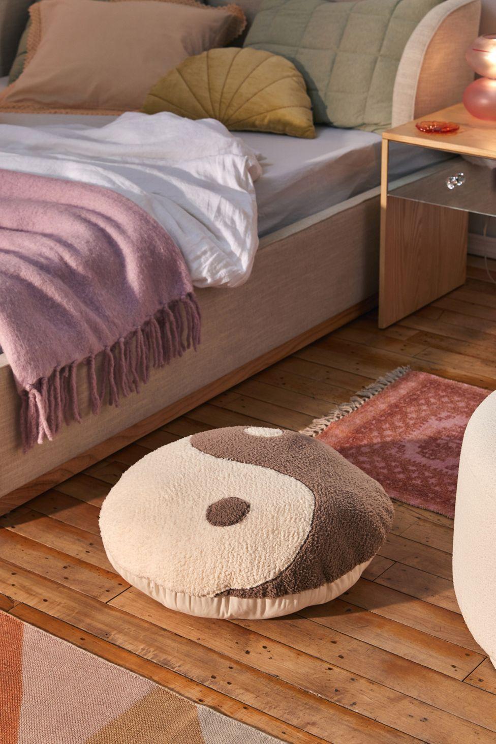 Yin Yang Sherpa Throw Pillow | Urban Outfitters