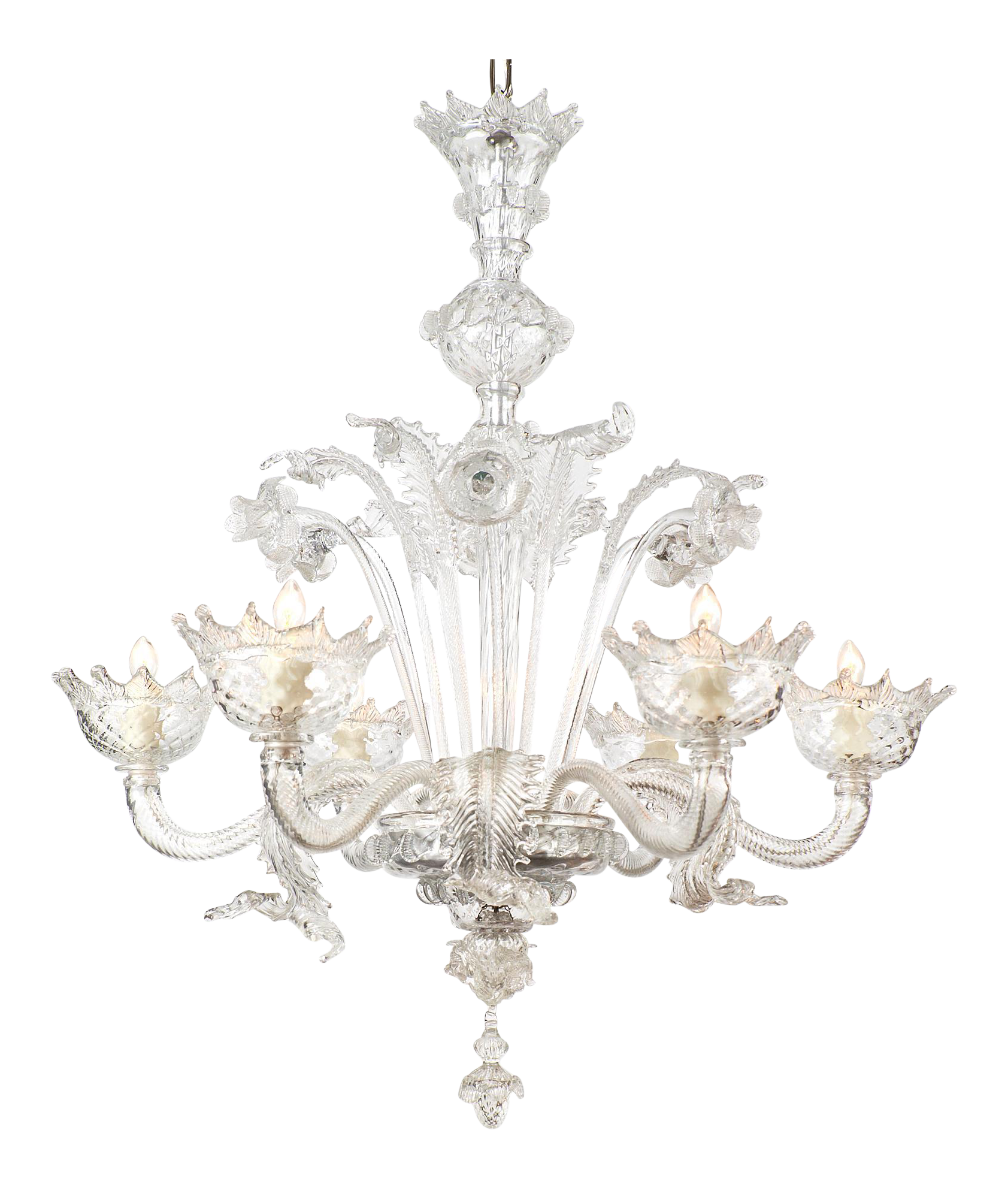 Vintage Italian Murano Glass Chandelier Made Of Crystal Clear