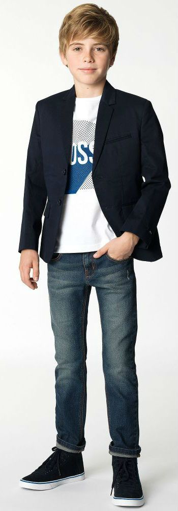 032acc2e05a BOSS Boys Navy Blazer White & Blue Logo T-Shirt and Jeans for Fall Winter  2018. Daddy & Me Look for Boys Inspired by the Hugo Boss Men's Collection.